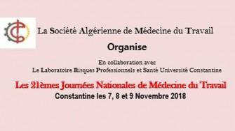 21èmes journées nationales de médecine du travail - 7, 8 et 9 Novembre 2018 à Constantine