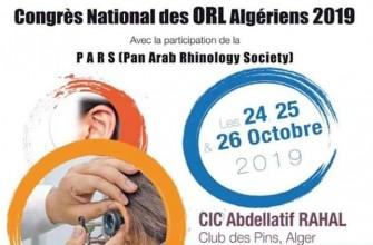 Congrès national des ORL algériens- les 24,25,26 octobre 2019, club des pins, Alger.
