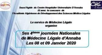 04 ème Journée Nationale de Médecine Légale d'Annaba- Les 08 et 09 janvier 2020