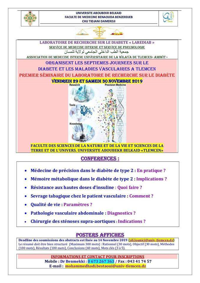 07 ème Journées du Diabète et les Maladies Vasculaires- Les 29-30 novembre 2019, Tlemcen