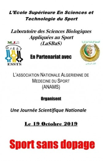 Une journée scientifique nationale-Sport Sans Dopage-le 19 octobre 2019, Alger