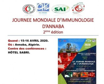Journée mondiale dimmunologie dAnnaba- Les 15,16 avril 2020 -Annaba-
