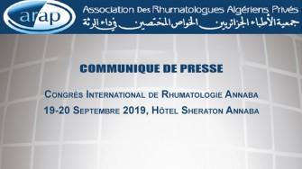 COMMUNIQUE DE PRESSE : Congrès International de Rhumatologie, 19-20 Septembre 2019, Hôtel Sheraton Annaba