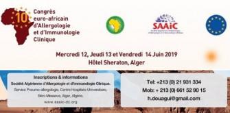 10ème Congrès Euro-Africain d'Allergologie et d'Immunologie Clinique -  12 au 14 Juin 2019 à Alger