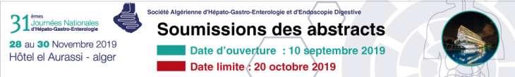 31ème journées nationales d'Hépato-Gastro-Entérologie- Les 28 au 30 Novembre 2019 à l'Hôtel El Aurassi- Alger