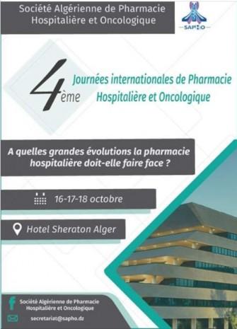 4e journées internationales de Pharmacie Hospitalière et Oncologique  16-17 et 18 Octobre 2019