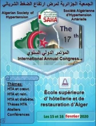 17ème Congrès Annuel International de La SAHA- Les 15,16 février 2020 -Alger