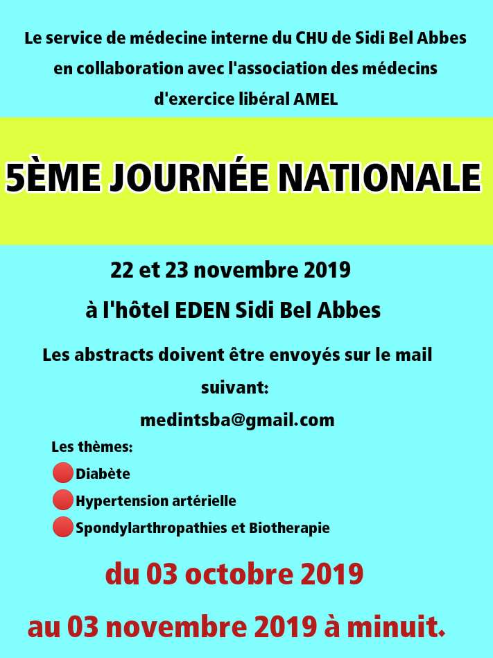 Les 5 èmes journées nationales de médecine interne- 22 et 23 novembre 2019- Sidi Bel Abbes