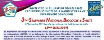 3ème SNBS Séminaire National de Biologie et Santé- Le 07 décembre 2019 à Sidi Bel Abbas
