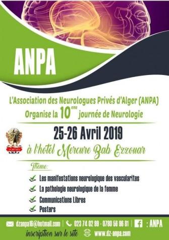 ANPA : 10ème Journée de Neurologie - 25 au 26 Avril 2019 à Alger