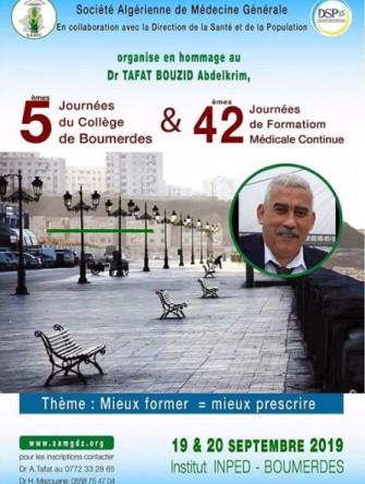 5ème Journée du collège de Boumerdes et 42ème Journée de FMC - 19 au 20 Septembre 2019 à Boumerdes