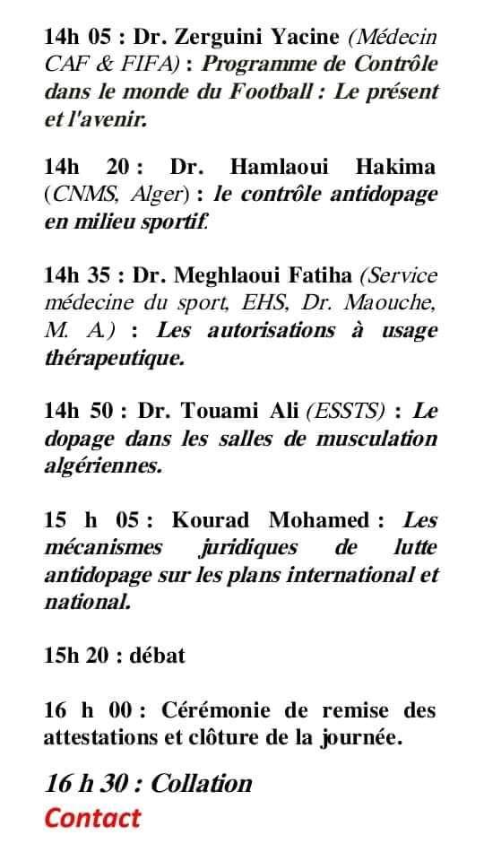 Une journée scientifique nationale-Sport Sans Dopage-le 19 octobre 2019, Alger