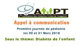 Appel à communication : 1er journée de pédiatrie les 30 et 31Mars 2018 sous le thème : Diabète de l'enfant