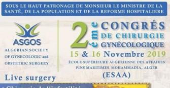 2ème Congrès De Chirurgie Gynécologique-15 et 16 Novembre 2019 aux Pins maritimes, Alger