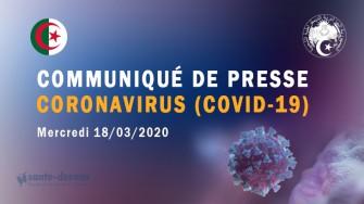 Communiqué de presse : Suivi quotidien du Coronavirus COVID-19, 18 mars 2020