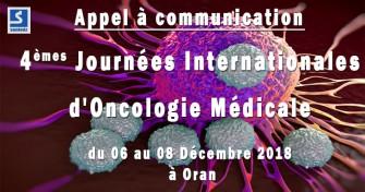 Appel à communication : 4èmes journées internationales doncologie médicale - 06 au 08 Décembre 2018 à Oran